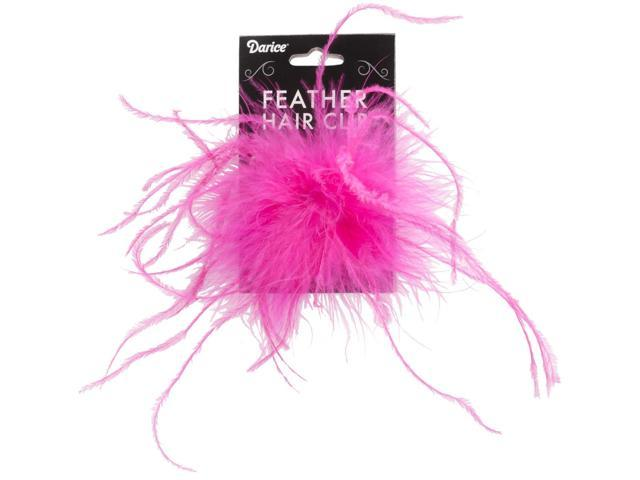 Ostrich Feather Hair Clip-Hot Pink