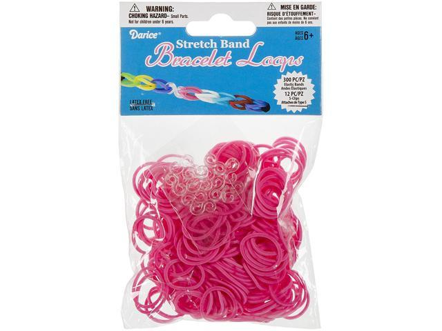 Mini Rubber Bands 300/Pkg W/12 Clips-Pink