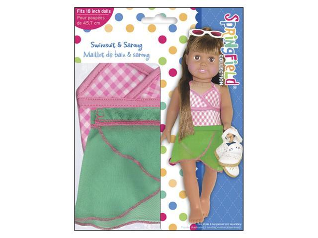 Springfield Collection Swimsuit Outfit-Pink & White Check w/Green Sarong