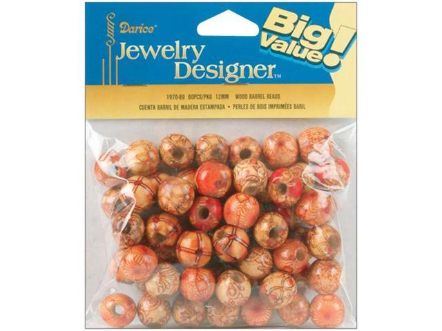 Wood Barrel Beads 12mm 60/Pkg-Printed