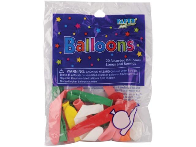 Balloons Long & Round Assortment 20/Pkg-Assorted Colors