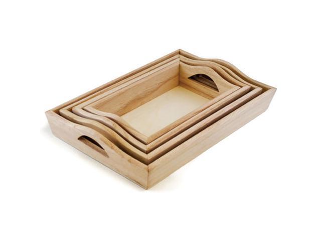 Paintable Wood Trays 4/Set-4.25