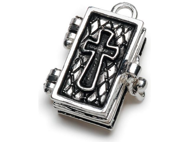Prayer Box Metal Charm 1/Pkg-Antique Silver Bible