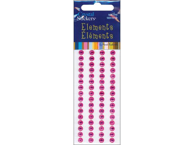 Crystal Stickers Elements 5mm Round 68/Pkg-Hot Pink