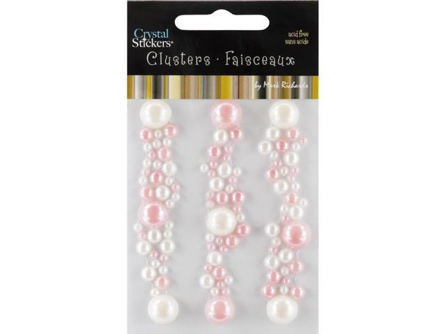 Crystal Stickers Clusters 3/Pkg-Round- Natural Pearl, Light Pink & Pearl