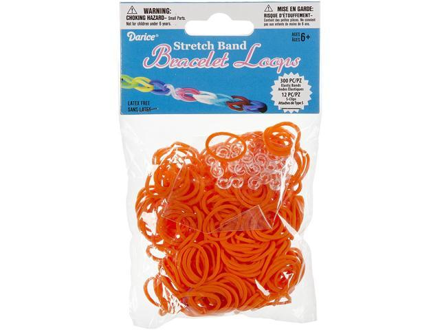 Mini Rubber Bands 300/Pkg W/12 Clips-Orange
