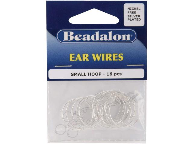 Ear Wire Beading Hoops Small 20mm 16/Pkg-Silver-Plated & Nickel-Free