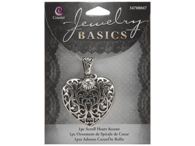 Jewelry Basics Metal Accent 1/Pkg-Heart Scroll
