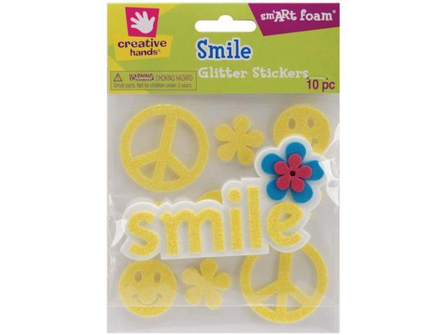 Foam Glitter Stickers 10/Pkg-Smile