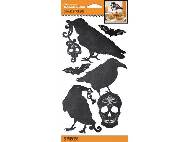 Jolee's Halloween Stickers 5/Pkg-Black & White Chalk Silhouette