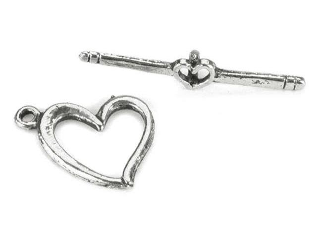 Blue Moon Plated Metal Toggle Clasps-Heart-In-Love Silver 8/Pkg