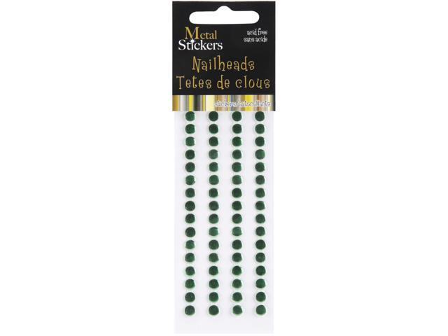 Metal Stickers Nailheads 5mm Round 64/Pkg-Christmas Green