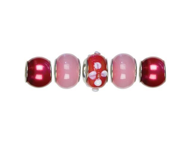 Trinkettes Glass & Metal Beads 5/Pkg-Red Flower Mix