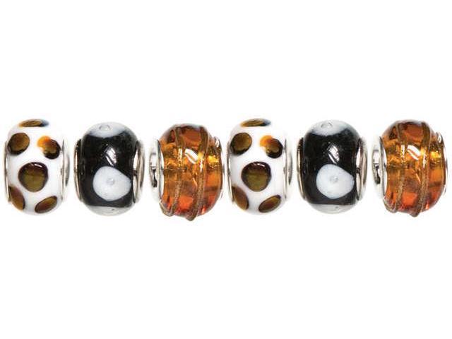 Trinkettes Glass, Metal & Clay Beads 6/Pkg-Black & Gold Dots
