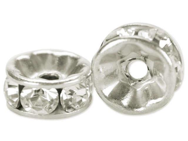 Swarovski Crystal Spacer Beads Rondelle 6mm 3/Pkg-Sterling Silver-Plated