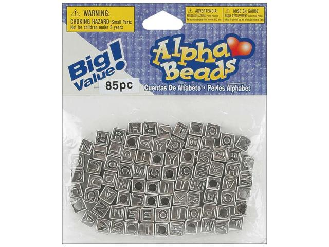 Alphabet Beads 6mm 85/Pkg-Silver-Plated