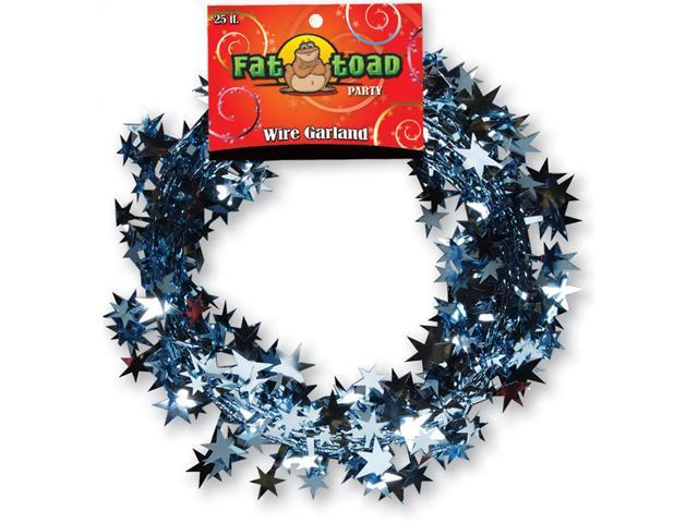 Fat Toad Wire Garland 25'-Light Blue Stars