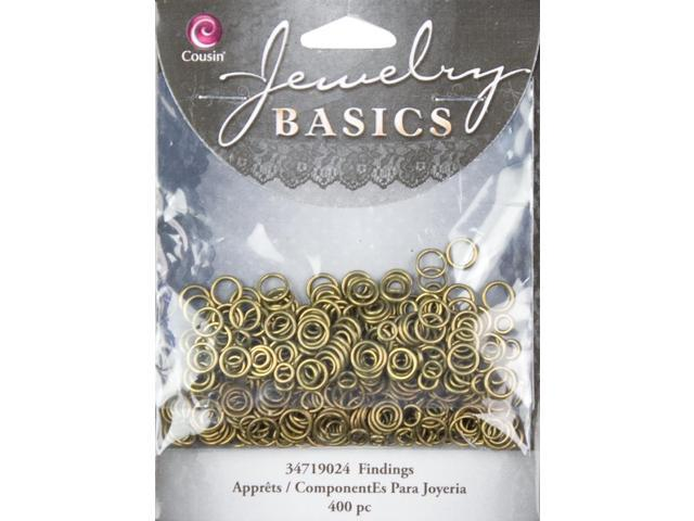 Jewelry Basics Metal Findings 400/Pkg-Antique Gold Jump Rings 4mm To 6mm