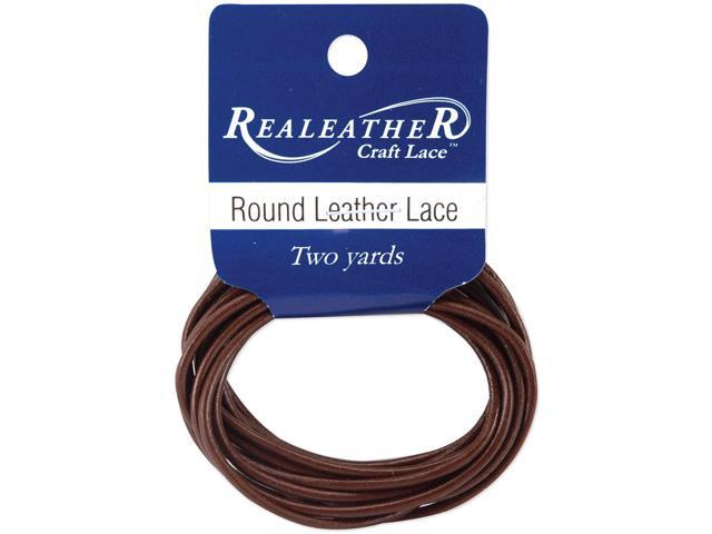 Round Leather Lace 2mmX2yd Packaged-Brown
