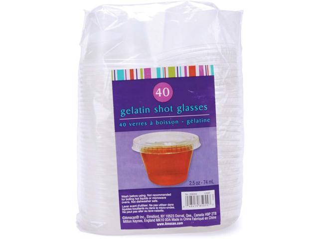 Plastic Gelatin Shot Glasses W/Lids 2.5oz 40/Pkg-Clear