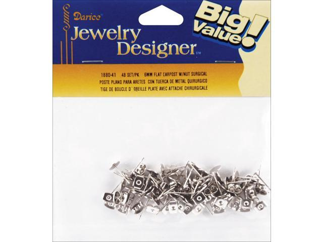 Flat Pad Earring Posts & Butterfly Clutches 6mm 48/Pkg-Surgical Steel
