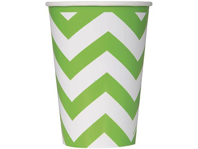Paper Hot & Cold Cups 12oz 6/Pkg-Lime Green Chevron