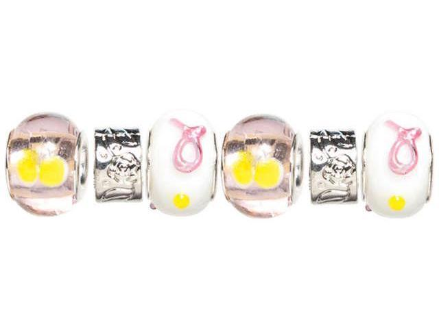 Trinkettes Glass, Metal & Clay Beads 6/Pkg-Pink & Yellow Ribbon