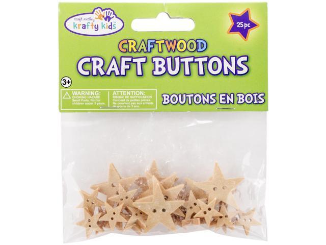 Craftwood Shaped Buttons 13mm To 27mm 25/Pkg-Stars