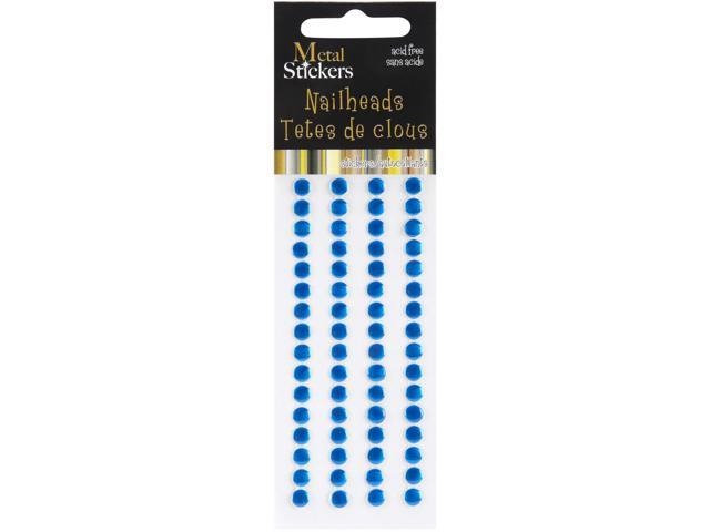 Metal Stickers Nailheads 5mm Round 64/Pkg-Blue