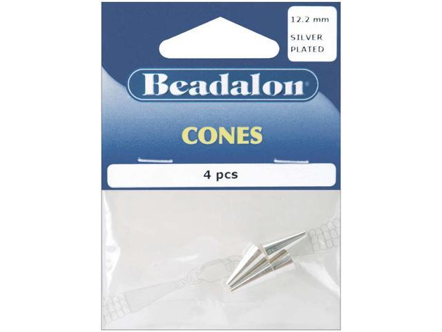 Memory Wire End Caps Cone 12.2mm 4/Pkg-Silver-Plated