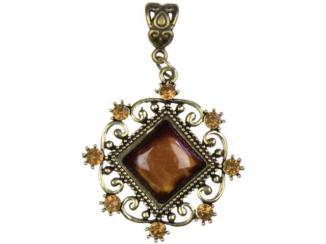 Jewelry Basics Metal Accent 1/Pkg-Antique Gold Diamond W/Cabochon