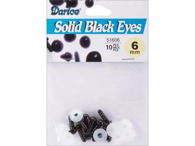 Shank Back Solid Eyes 6mm 10/Pkg-Black