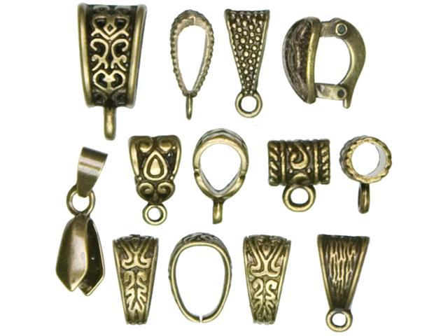 Jewelry Basics Metal Findings 13/Pkg-Antique Gold Mixed Bail Pack