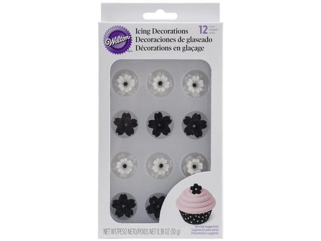 Royal Icing Decorations 12/Pkg-Black & White Flowers