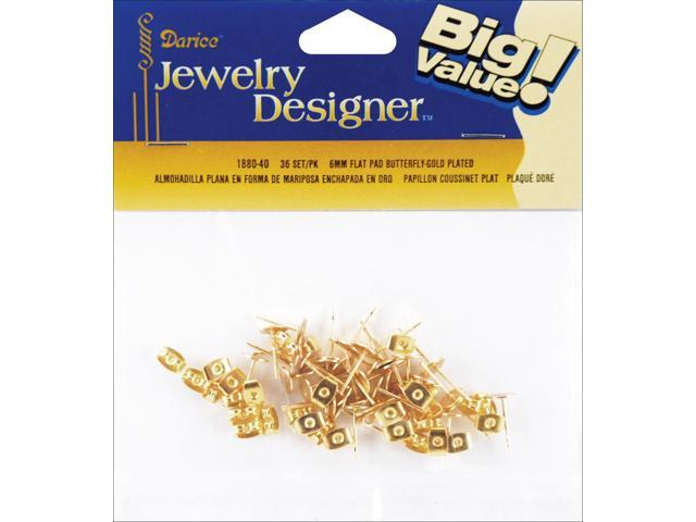 Flat Pad Earring Posts & Butterfly Clutches 6mm 36/Pkg-Gold-Plated