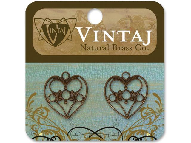 Vintaj Metal Accents-Delicate Hearts 19mmX18mm 2/Pkg