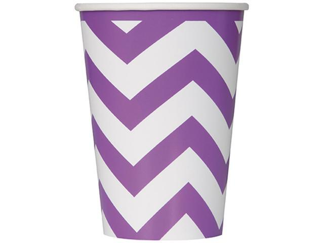 Paper Hot & Cold Cups 12oz 6/Pkg-Pretty Purple Chevron