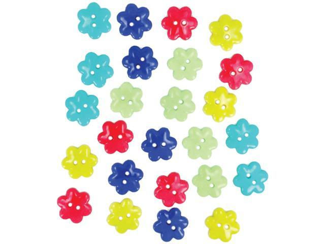 Dress It Up Embellishments-Flower Buttons - Bright Blooms