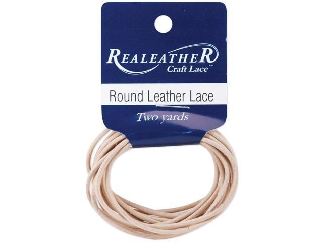 Round Leather Lace 2mmX2yd Packaged-Natural