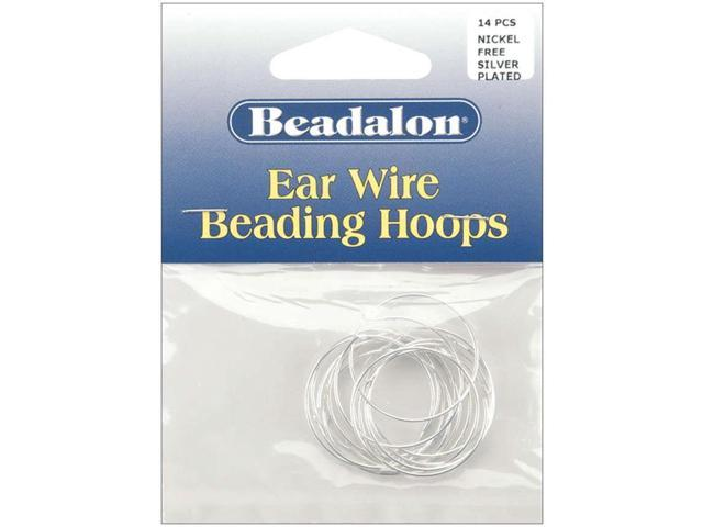 Ear Wire Beading Hoops Medium 25mm 14/Pkg-Silver-Plated & Nickel-Free