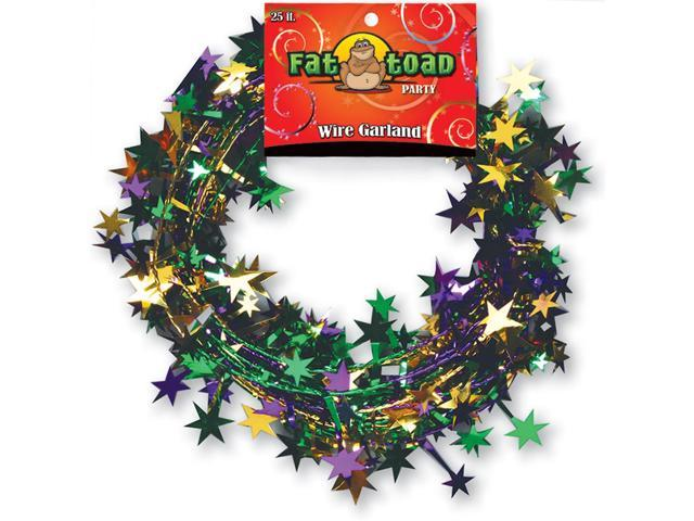 Fat Toad Wire Garland 25'-Green, Purple & Gold Stars