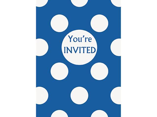 Invitations & Envelopes 8/Pkg-Royal Blue Decorative Dots