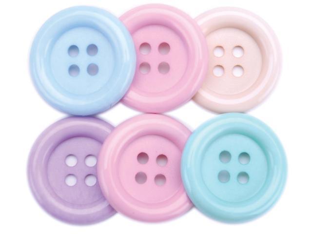 Favorite Findings Big Buttons 6/Pkg-Pastels