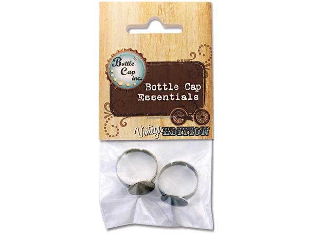 Bottle Cap Inc Vintage Adjustable Rings 2/Pkg-Silver
