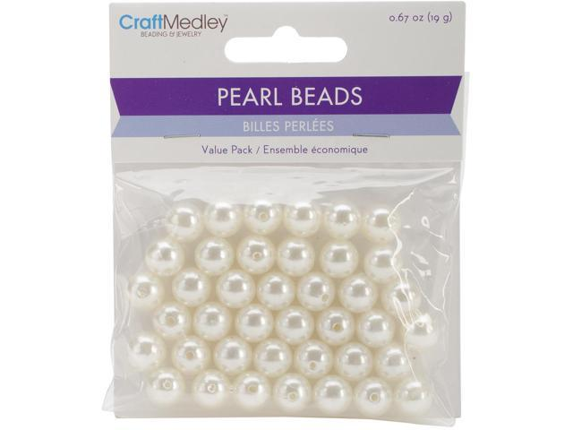 Pearl Beads Value Pack-10Mm Ivory 40/Pkg