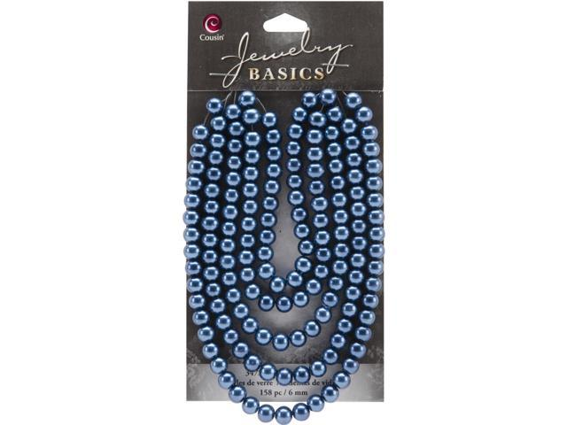 Jewelry Basics Pearl Beads 6mm 158/Pkg-Navy Round