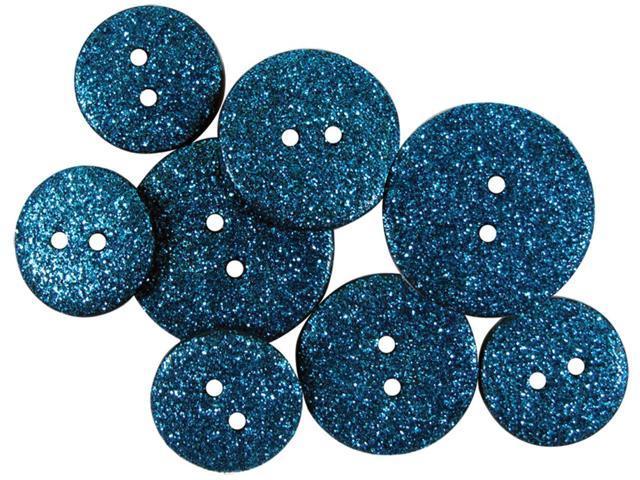 Favorite Findings Glitter Buttons-Bay Opaque 7/Pkg