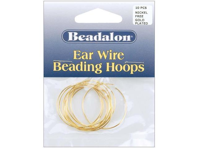 Ear Wire Beading Hoops Large 30mm 10/Pkg-Gold-Plated & Nickel-Free