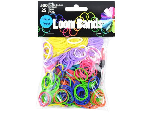 Loom Bands 500/Pkg W/25 Clasps-Primary Assortment