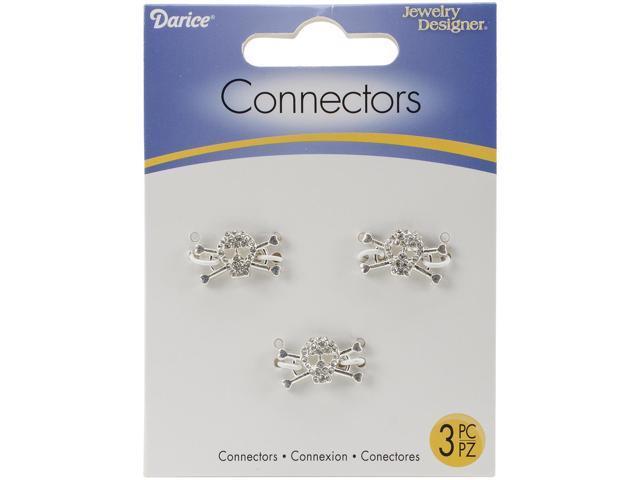 Connectors 18mmX10mm 3/Pkg-Silver Skulls